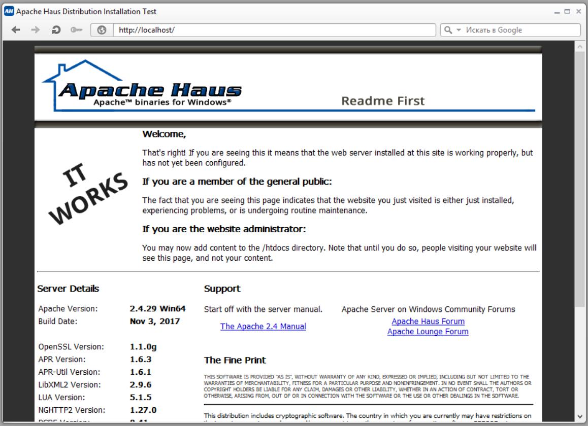 страница сервера Apache