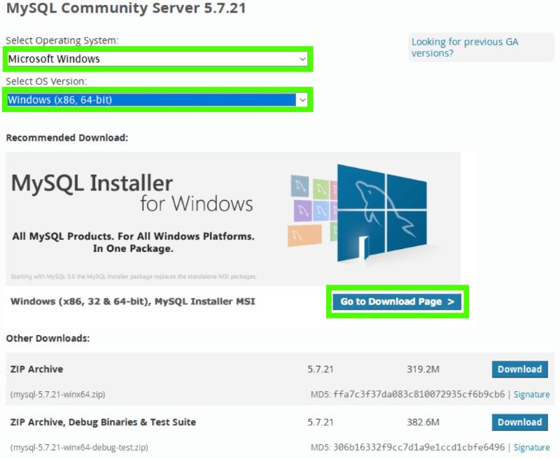 выбор установщика MySQL